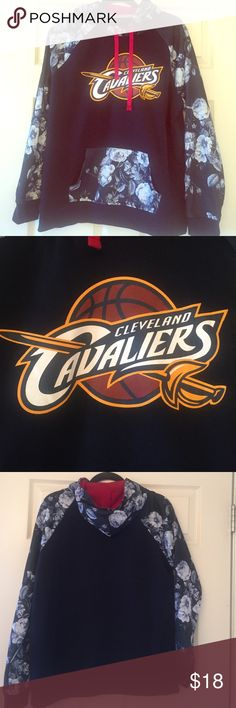 Cleveland CAVS rose print hoodie! NBA licensed rose hoodie for the 2016 champs! Never worn! Only washed once. Great quality. Rose printed section is a thick, durable, silky material. Tops Sweatshirts & Hoodies