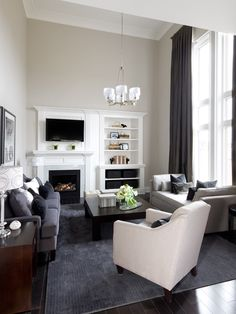 off centered fireplace- maybe something like this- if you close off the two spaces