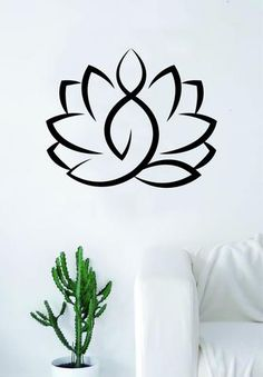 Yoga Lotus Wall Decal Sticker Room Art Vinyl Beautiful Cute Hamsa Namaste Flower Meditate Buddha Peace Love Tranquility Zen Balance