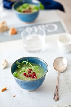 Chilled Lemon Cucumber & Fresh Pea Soup.  Looks like a good one to try this summer.