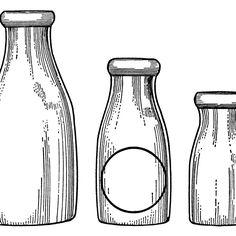 milk bottle clip art, vintage dairy, paper ephemera, black and white graphics, antique catalog ad