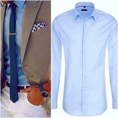 Dress Up mit dem Eterna Slim Fit Hemd für 59.95€ (Linkes Bild by Lookastic.de via Pinterest)