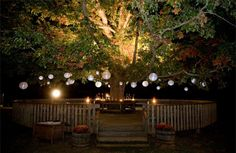 I want a big tree in my backyard so i could build a deck around it. Put lights and lanterns around the tree :) Backyard Lighting, Backyard Pergola, Outdoor Lighting, Tree Lanterns, Hanging Lanterns, Hanging Lights, Paper Lanterns, Pergola Designs, Deck Design