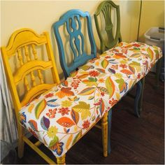 Mismatched chairs repurposed.  Great idea for a bench in your garden, veggie garden or on your stoep (verandah)