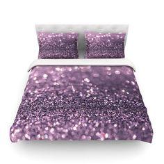 "Debbra Obertanec ""Lavender Sparkle"" Purple Glitter King Cotton Duvet Cover - Outlet Item"