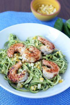 Avocado-Basil Zucchini Noodles with Chile-Lime Shrimp & Corn #zucchininoodles #zucchinipasta