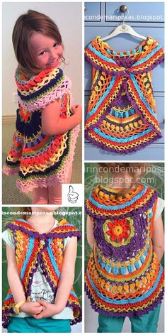 Crochet Kids Sweater Outwear Patterns - Crochet Chaleco Circular Shrug Free Pattern