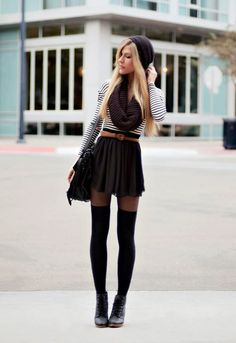 see more Long Socks and Short Skirts,Suitable Winter Hat and Scarf, Black Leather Boots and Handbag
