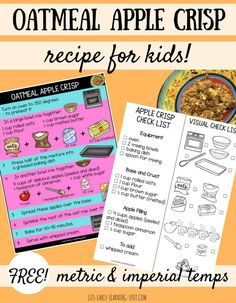 Apple recipes: This oatmeal apple crisp recipe for kids gives them lots to do to help. Print off the free recipe and check list and give it a go! Cooking In The Classroom, Preschool Cooking, Cooking With Kids, Preschool Apples, Cooking Lamb, Free Preschool, Apple Crisp With Oatmeal, Apple Activities, Speech Activities