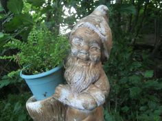 Exceptionnel Very Cool Old Garden Gnome With Planter Vintage Cement Concrete Statue