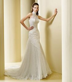 Mermaid High Neck Long Lace Wedding Dress
