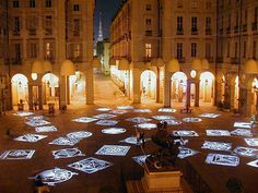 Piazza Palazzo di Città, province of Turin , Piemonte region Italy . Famous Contemporary Artists, City Museum, Light Installation, Old City, Turin, City Streets, Light Art, Bella, Modern Art