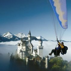 Bus Bavaria Neuschwanstein castle tours from Munich. non-strenuous bike ride and tandem paraglide. Instead of taking the street up to the castle entrance we lead our guests instead up the back way through a spectacular waterfall gorge which most visitors don't even know about.