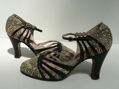 art deco german flapper shoes size 5 / 1920s 30s art deco mary janes with reptile detailling and cutouts. $175.00, via Etsy.