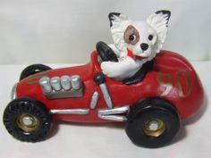 Papillon driving race car polymer clay sculpture