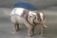 Signed British Sterling Elephant Pin Cushion by Adie  Lovekin; Birmingham; Circa 1900's
