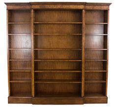 A stunning hand crafted English reproduction breakfront bookcase in stunning burled walnut. A large piece that can hold a library's worth of books! - English Classics Atlanta