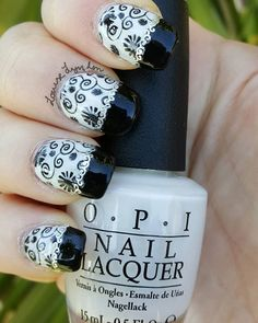 A black and white twist on the #frenchmanicure  #nailpolish used:  #AlpineSnow by #OPI #BlackOnyx by OPI #ReadyForTakeOff by #UNT  #TopCoat by #SecheVite  #stampingplate plate by #MoYou from #PicturePolish  #silver detail tape from #ebay  #nailart #GetTheLook #nailglamour #nailpolishobsession #simplynotlogical #ohmygoshpolish #diynailart #nailpolish @opi_products @opinailsuk @opiaustralia @moyou_london @moyouaustralia @picturepolish @unt_global @sechenails