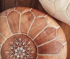 2 moroccan leather pouf tan  ottomans by moroccancraftshop on Etsy