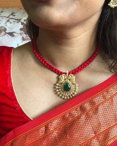 Bead Jewellery, Beaded Jewelry, Jewelry Necklaces, Ruby Jewelry, India Jewelry, Gold Earrings Designs, Necklace Designs, Gold Designs, Gold Pendant