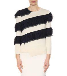 Navy and ivory ruffled sweater