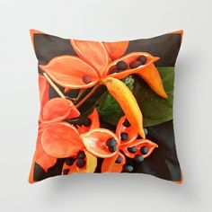 STUNNING ORANGE BLOOMS Throw Pillow by Annie Koh - $20.00