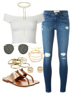 """""""Untitled #135"""" by maggiejanexo on Polyvore featuring Gorjana, Frame Denim, Steve Madden, Kendra Scott and Ray-Ban"""