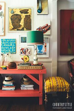 Country Style Magazine. Interior designer Anna Spiro's amazing talent for mixing colour and pattern is obvious in every corner of her Queensland home. Photography Jared Fowler Styling Anna Spiro #countrystylemag