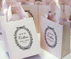 25 Mr & Mrs Gift Bags - Personalized wedding welcome gift bag with satin ribbon handles and your name Elegant wedding favor bags for guests - Custom Wedding Welcome Bags. DETAILS - set of 25 light pink (baby pink) or white paper bags; - any color of ribbon and names is possible; -