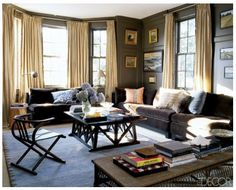 Masculine Living Room. From Elle Decor. Also like this warm grey and deep ivory