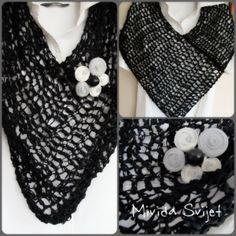 crocheted triangle scarf made of cotton strips with detachable brooch