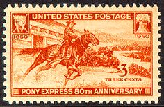 Pony Express 80th Anniversary stamp from 1940.