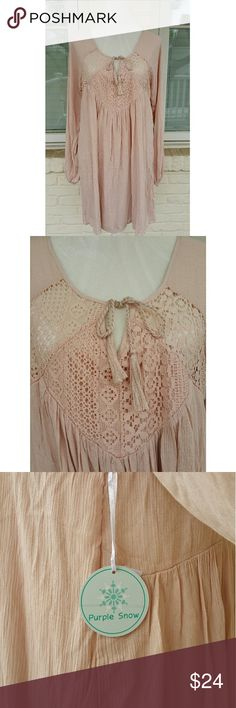 NWT, Purple Snow Blush/Pink Boho Dress Boho style, Purple Snow blush tone dress is perfect for spring/summer. Easy, ready to wear for day or night! Pair with boots for a western style look or wedges for a casual, trendy look. Purple Snow Dresses Mini