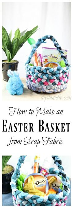 How to make a DIY Easter Basket from upcycled fabric. Free, easy, and fun to make. #AD #SweeterEaster