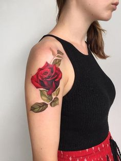 Amazing red rose tattoo - 100+ Meaningful Rose Tattoo Designs  <3 <3
