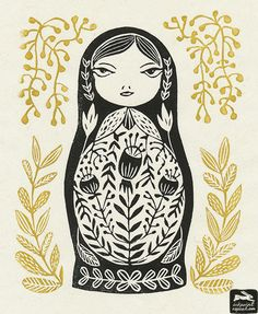 matryoshka, russian doll, folk art, woodcut, linocut, block print, illustration