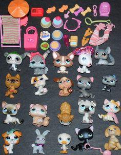 20 LPS MIXED PET animal Lot cats dogs bunny rabbit etc...