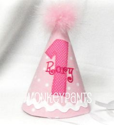 CUSTOM MADE Personalized 1st Birthday Girl's Party Hat. $23.00, via Etsy.