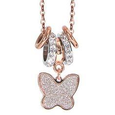 SPECIAL DAYS! Fino al 31 agosto -10% sui gioielli Boccadamo in vendita online sul nostro shop. APPROFITTANE SUBITO!  ☆☆☆ COLLANA FARFALLA GLITTER Boccadamo in bronzo rosa gold