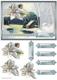 Snow at Christmas card with decoupage on Craftsuprint designed by Angela Wake - Snow at Christmas card with decoupage and sentiment tags - Now available for download!