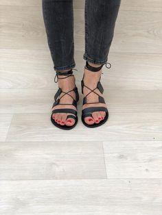 03902189f75c Black Lace up Leather Sandals Gladiator Sandals Black