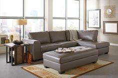 2 pc Joaquin collection transitional style grey leather like vinyl upholstered sectional sofa with chaise