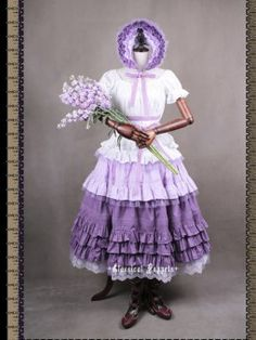 *Classical Puppets* Victorian Maiden Violet Four Piece Set Long Dress #LolitaDress #Lolita #LolitaFashion