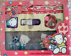Caper Cat Club Pencil Set Kawaii Stationery 90s GVS by JirjiMirji, €32.30