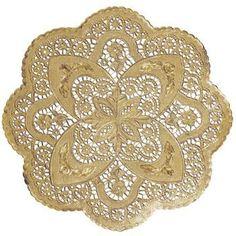 Foil Round Lace 12-inch Doilies, Gold