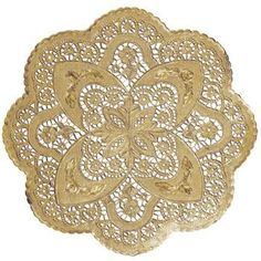 $26 for 50. Foil Round Lace 12-inch Doilies, Gold