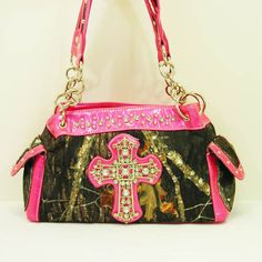 Hot Pink Camo Cross Handbag