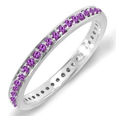 0.48 Carat (ctw) 18K White Gold Round Amethyst Ladies Wedding Anniversary Eternity Band Stackable Ring 1/2 CT