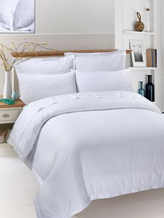 White Picot Stripe Sateen 400 Thread Count (6 Piece) Quilt Cover Set - This pure white picot stripe sateen gives you comfort and elegant picot details on duvet covers and pillow covers, this set is soft and radiant in rich color for an instant bed makeover.