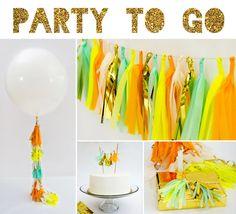 Party to Go, Tissue Tassel Decor Birthday Package on Etsy, #birthday #party #package #set #bundle #tassel #tissue #balloon #36inch #round #cake #topper #garland #fancy #frill #orange #yellow #neon #mint #gold #setup #decor #decorations #boy #shower
